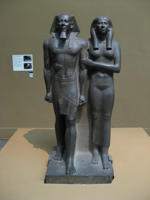 Statue of King Mankaure and his Queen (Ancient Egypt)