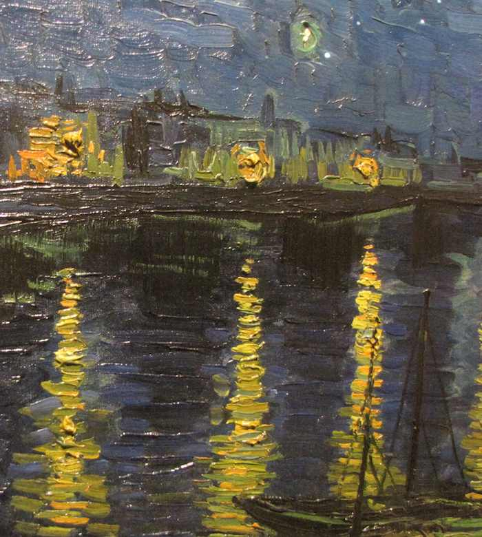 photo of close up detail of Starry Night Over The Rhone painting by Vincent van Gogh