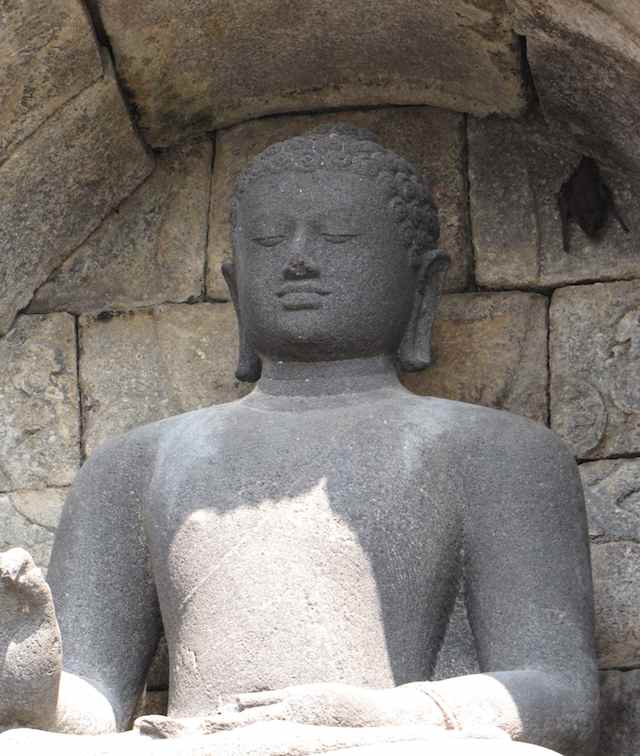 photo of a bat using an alcolve for a Buddha statue as a resting place.
