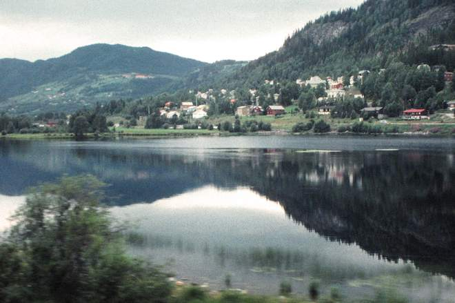 photo of hillside and refection in water