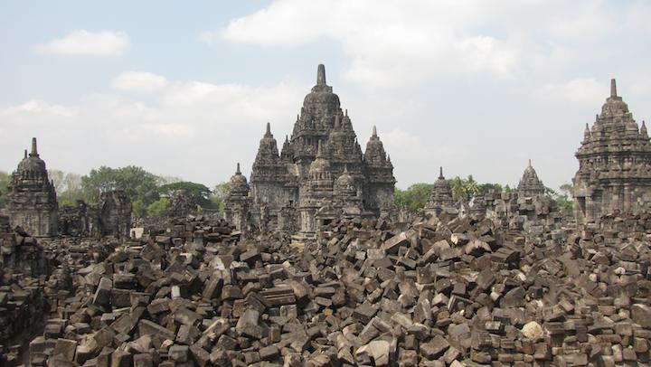 photo of stone block and temples at Candi Sewu