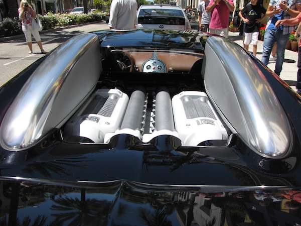 close up view of the Bugatti Veyron rear engine