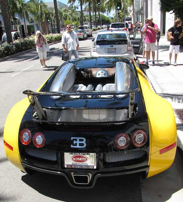 Rear view of Bugatti on Rodeo Drive in Beverly Hills