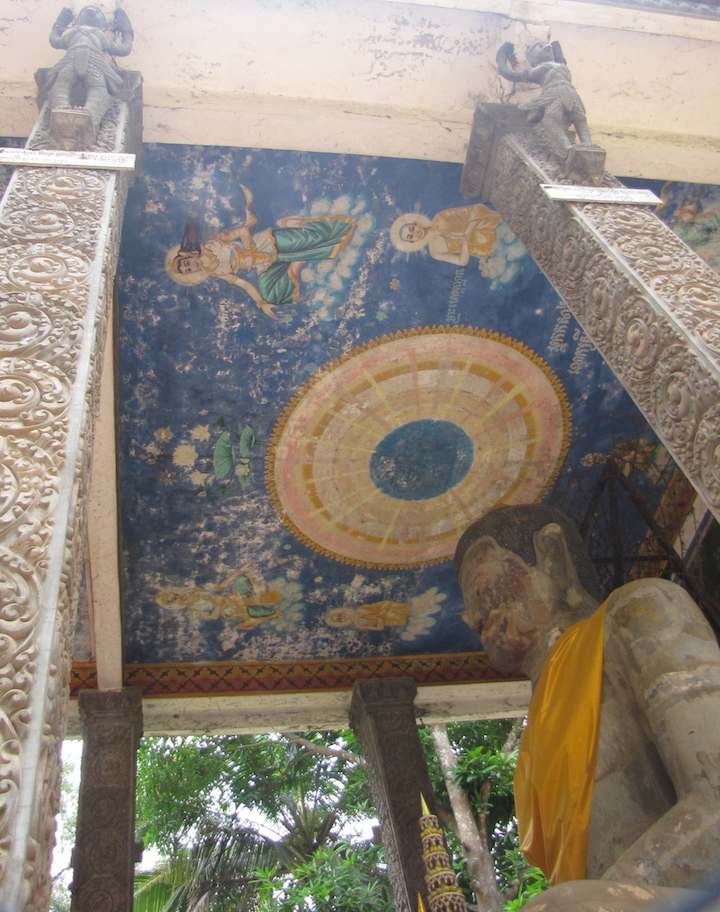photo of Buddhist temple ceiling