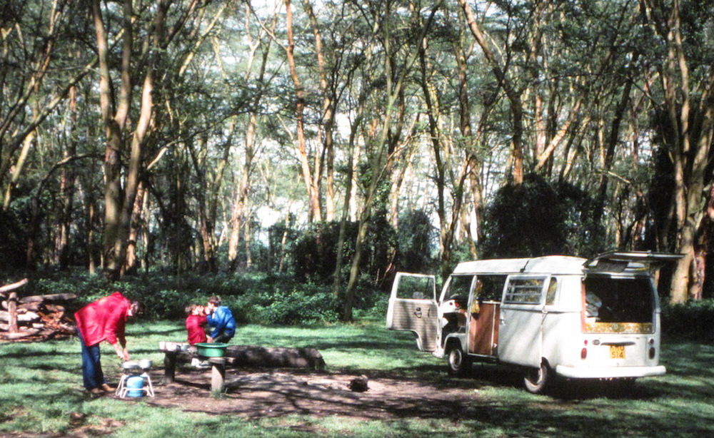 Photo of my family at a campsite in Kenya with our VW Van