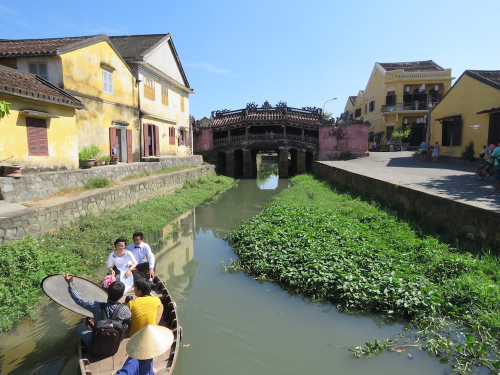 Wedding photo shoot with Hoi An Japanese Bridge in the background