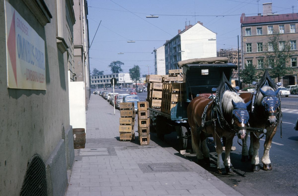 Horse drawn delivery truck, Europe 1960s