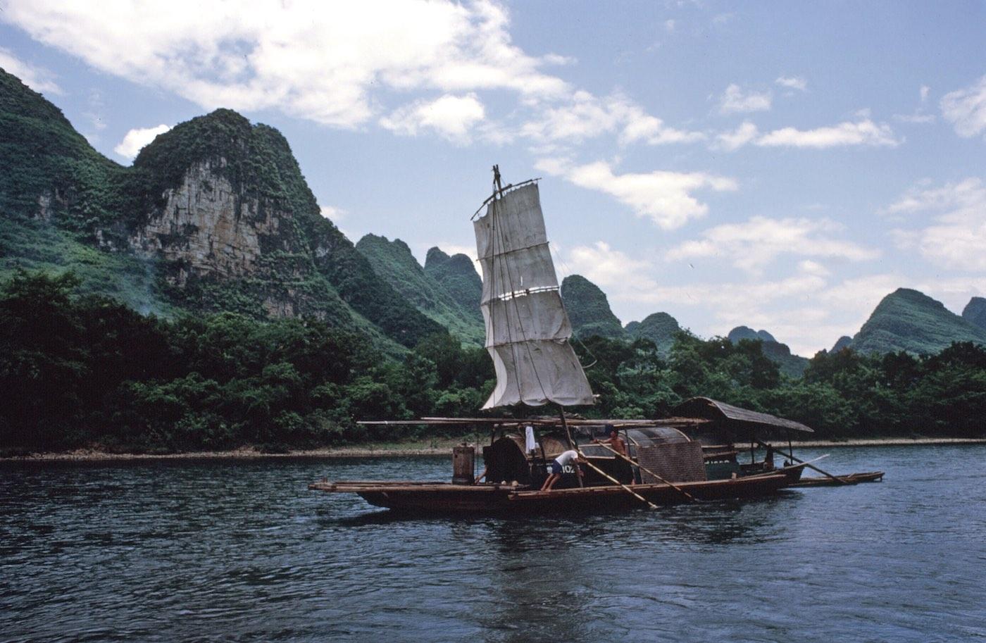 Sail boat on river, Guilin, China, 1982